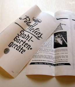 Werbeschrift mit dem Polar Helios Obstpflücker aus dem Jahr 1936