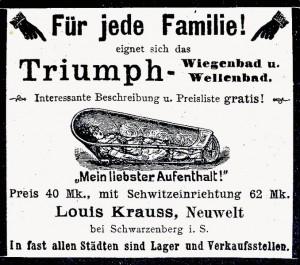 Das Triumph Wiege- und Wellenbad, hergestellt in den Krausswerken bei Schwarzenberg (Quelle: Wikipedia).