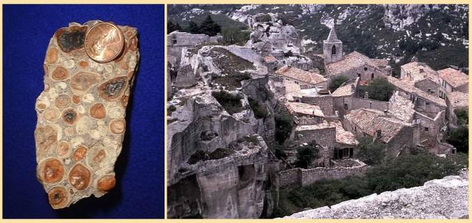 Bauxit mit einer US-Centmünze zum Größenvergleich // Les-Baux-en-Provence zum Größenvergleich (Quelle: Wikipedia, aufgenommen von Chris 73 & Adrian Pingstone )