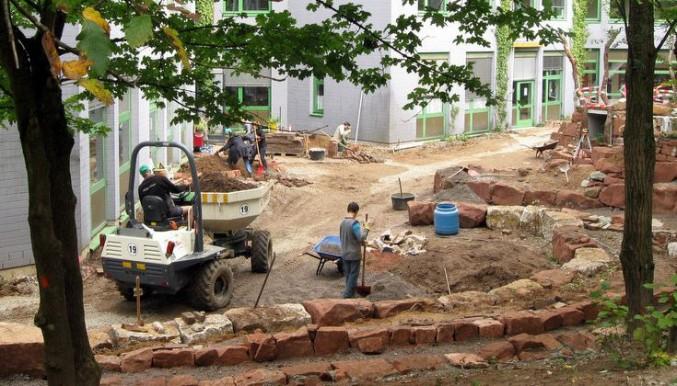 Die Baustelle in der Rohbauphase