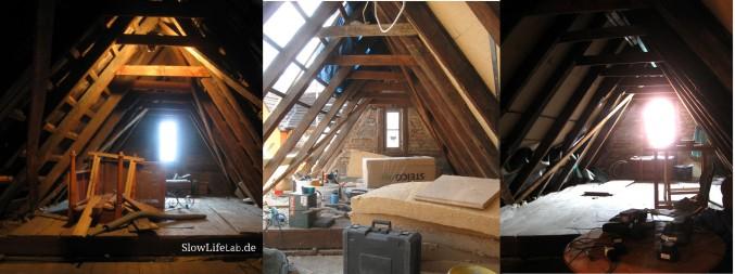Ganz links: Das erste Montagsbild, der Giebel vor der Renovierung