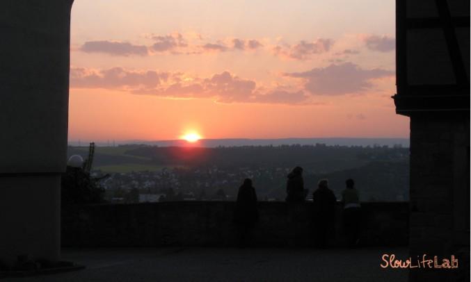 Romantisch: Sonnenuntergang auf Burg Ebernburg