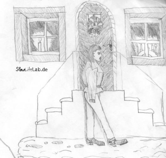 Alice wandert durch die Straßen. Erlebt 1992, gezeichnet ca. 1998.