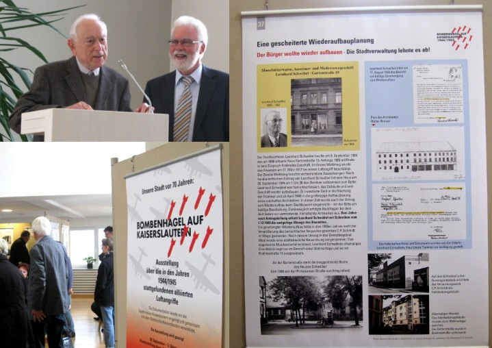 Bombenhagel auf Kaiserslautern - Karl-Richard Albus (rechts) organisierte die Ausstellung, Wilhelm Barz (links) gestaltete die Plakate